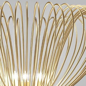 Contemporary Metal Pendant Ceiling Light Vortex Design Crafted with Wire 60cm diameter with 6 Lamps-Gold-Distinct Designs (London) Ltd