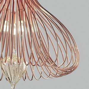 Contemporary Metal Pendant Ceiling Light Vortex Design Crafted with Wire 60cm diameter with 6 Lamps-Copper-Distinct Designs (London) Ltd