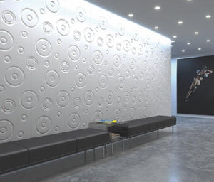 Decorative 3D Textured Feature Wall Panels with Modern Oversized DROP Design-4 x 600x600mm-Pure White Gloss-Distinct Designs (London) Ltd