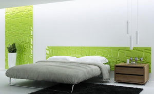 Decorative 3D Textured Feature Wall Panels with Contemporary Intriguing MAZE Design-4 x 600x600mm-Lime Green Gloss-Distinct Designs (London) Ltd