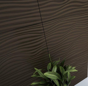 Decorative 3D Textured Feature Wall Panels with Nautical Coastal WAVE Design-2 x 600x1200mm-Chocolate Brown-Distinct Designs (London) Ltd
