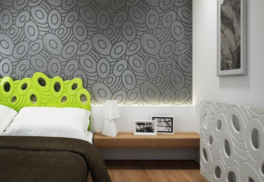 Decorative 3D Textured Feature Wall Panels with Sophisticated Elliptical GALAXY Design-4 x 600x600mm-Slate Grey Metallic-Distinct Designs (London) Ltd