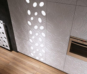 Decorative 3D Textured Feature Wall Panels with Sophisticated Elliptical GALAXY Design-4 x 600x600mm-Pure White Gloss-Distinct Designs (London) Ltd