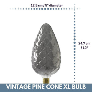 Decorative Vintage Oversized PINE CONE LED Bulb for Display Table Desk Pendant Light Fixtures-XL-Titanium-Distinct Designs (London) Ltd