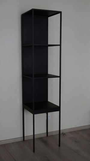 Bespoke Metal Display Cabinet Book Case Shelving Unit 40x180x40cm (LxHxD) in Black-Metal-Distinct Designs (London) Ltd