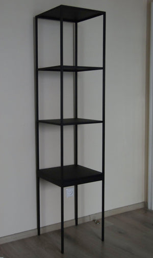 Bespoke Metal Display Cabinet Book Case Shelving Unit 40x180x40cm (LxHxD) in Black-Open-Distinct Designs (London) Ltd