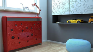 Distinct Kids Bespoke Radiator Cabinet Cover CARS for Children's Bedroom Nursery Playroom-88x90CM-Berry Red-Distinct Designs (London) Ltd