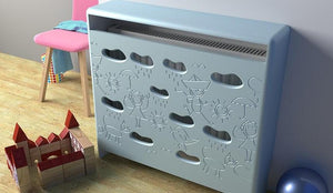 Distinct Kids Bespoke Radiator Cabinet Cover CLOUDS for Children's Bedroom Nursery Playroom-88x90CM-Sea Spray Blue-Distinct Designs (London) Ltd
