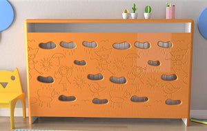 Distinct Kids Bespoke Radiator Cabinet Cover CLOUDS for Children's Bedroom Nursery Playroom-88x90CM-Bumblebee Yellow-Distinct Designs (London) Ltd