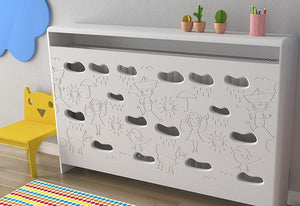 Distinct Kids Bespoke Radiator Cabinet Cover CLOUDS for Children's Bedroom Nursery Playroom-88x90CM-Snow White-Distinct Designs (London) Ltd
