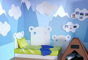Distinct Kids HIPPO single bed decorative Headboard for Children's Bedroom Nursery Playroom-70cm-Snow White-Distinct Designs (London) Ltd