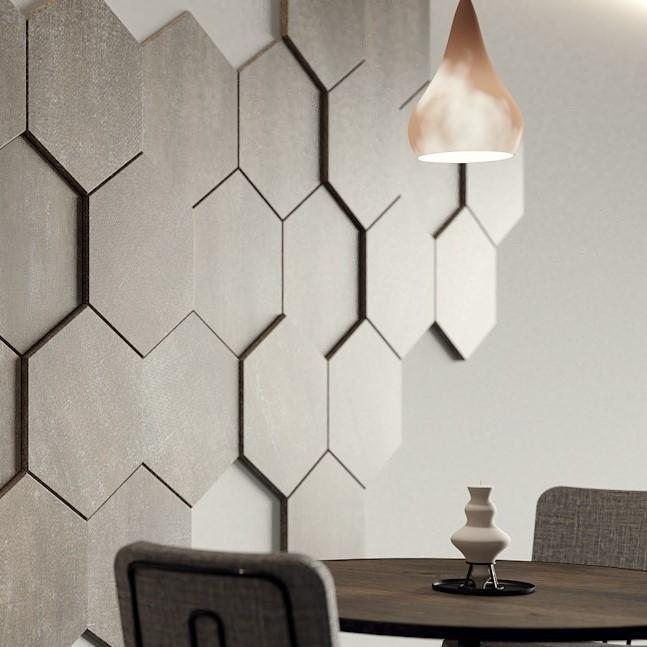 Decorative HEXAGONAL wall panels with varied thickness for textured 3D design, pack of 3-Distinct Designs (London) Ltd