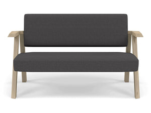Classic Mid-century Design 2 Seater Sofa Armchair in Slate Grey Fabric-Natural Oak-Distinct Designs (London) Ltd