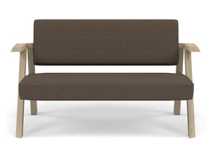 Classic Mid-century Design 2 Seater Sofa Armchair in Coffee Brown Fabric-Natural Oak-Distinct Designs (London) Ltd