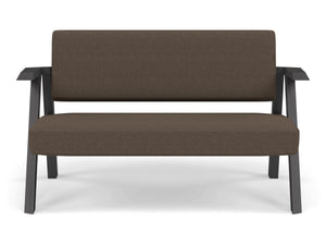 Classic Mid-century Design 2 Seater Sofa Armchair in Coffee Brown Fabric-Wenge Oak-Distinct Designs (London) Ltd