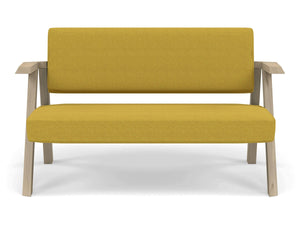 Classic Mid-century Design 2 Seater Sofa Armchair in Mustard Yellow Fabric-Natural Oak-Distinct Designs (London) Ltd