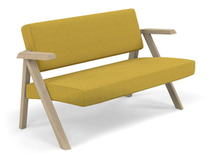 Classic Mid-century Design 2 Seater Sofa Armchair in Mustard Yellow Fabric-Distinct Designs (London) Ltd