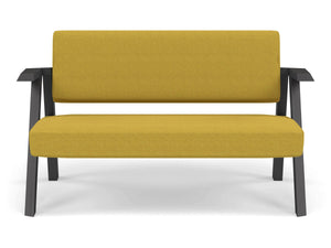 Classic Mid-century Design 2 Seater Sofa Armchair in Mustard Yellow Fabric-Wenge Oak-Distinct Designs (London) Ltd