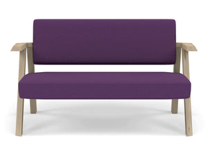 Classic Mid-century Design 2 Seater Sofa Armchair in Deep Purple Fabric-Natural Oak-Distinct Designs (London) Ltd