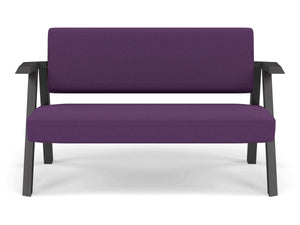 Classic Mid-century Design 2 Seater Sofa Armchair in Deep Purple Fabric-Wenge Oak-Distinct Designs (London) Ltd
