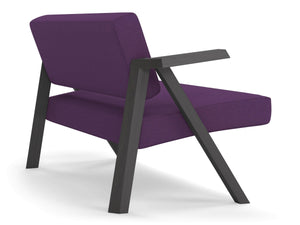 Classic Mid-century Design 2 Seater Sofa Armchair in Deep Purple Fabric-Distinct Designs (London) Ltd