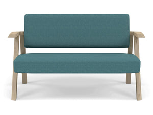 Classic Mid-century Design 2 Seater Sofa Armchair in Teal Blue Fabric-Natural Oak-Distinct Designs (London) Ltd