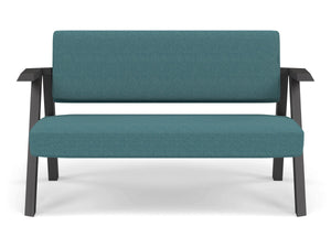 Classic Mid-century Design 2 Seater Sofa Armchair in Teal Blue Fabric-Wenge Oak-Distinct Designs (London) Ltd