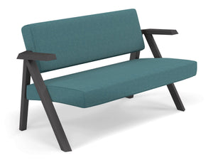 Classic Mid-century Design 2 Seater Sofa Armchair in Teal Blue Fabric-Distinct Designs (London) Ltd