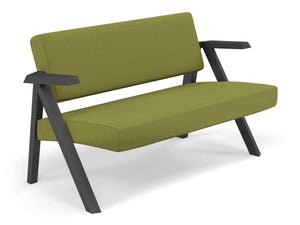 Classic Mid-century Design 2 Seater Sofa Armchair in Lime Green Fabric-Distinct Designs (London) Ltd