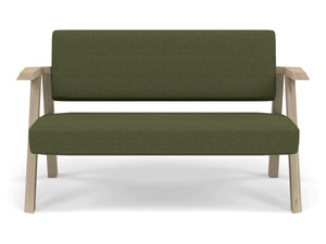 Classic Mid-century Design 2 Seater Sofa Armchair in Seaweed Green Fabric-Natural Oak-Distinct Designs (London) Ltd