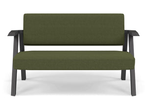 Classic Mid-century Design 2 Seater Sofa Armchair in Seaweed Green Fabric-Wenge Oak-Distinct Designs (London) Ltd