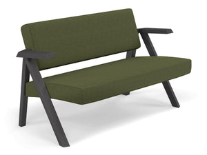 Classic Mid-century Design 2 Seater Sofa Armchair in Seaweed Green Fabric-Distinct Designs (London) Ltd