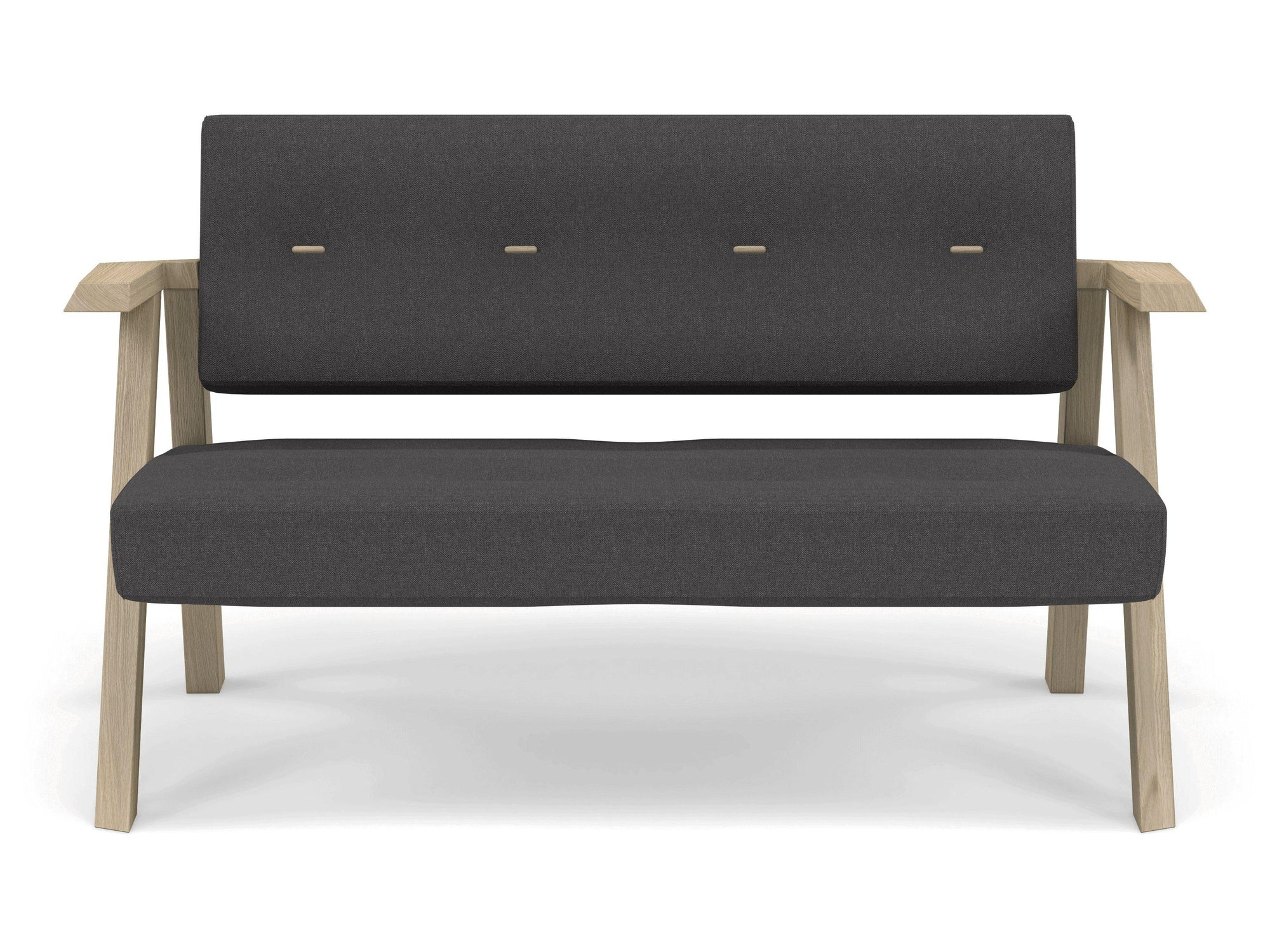 Classic Mid-century Design 2 Seater Sofa Armchair with Buttons in Slate Grey Fabric-Natural Oak-Distinct Designs (London) Ltd