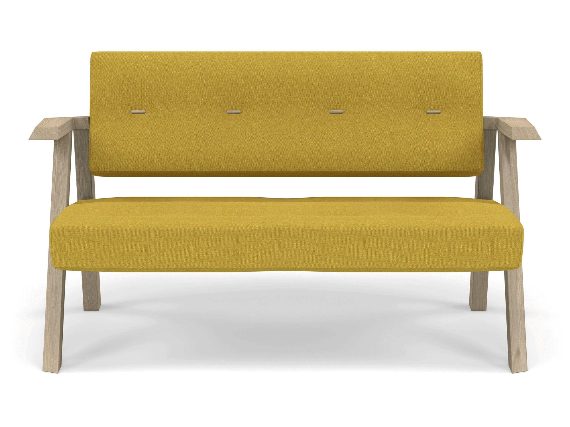 Classic Mid-century Design 2 Seater Sofa Armchair with Buttons in Mustard Yellow Fabric-Natural Oak-Distinct Designs (London) Ltd