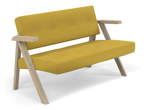 Classic Mid-century Design 2 Seater Sofa Armchair with Buttons in Mustard Yellow Fabric-Distinct Designs (London) Ltd