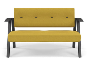 Classic Mid-century Design 2 Seater Sofa Armchair with Buttons in Mustard Yellow Fabric-Wenge Oak-Distinct Designs (London) Ltd