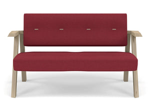 Classic Mid-century Design 2 Seater Sofa Armchair with Buttons in Rasberry Red Fabric-Natural Oak-Distinct Designs (London) Ltd