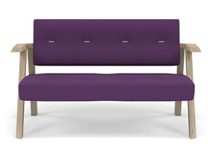 Classic Mid-century Design 2 Seater Sofa Armchair with Buttons in Deep Purple Fabric-Natural Oak-Distinct Designs (London) Ltd
