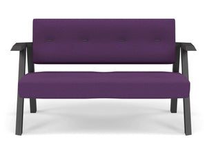 Classic Mid-century Design 2 Seater Sofa Armchair with Buttons in Deep Purple Fabric-Wenge Oak-Distinct Designs (London) Ltd