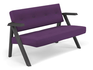 Classic Mid-century Design 2 Seater Sofa Armchair with Buttons in Deep Purple Fabric-Distinct Designs (London) Ltd