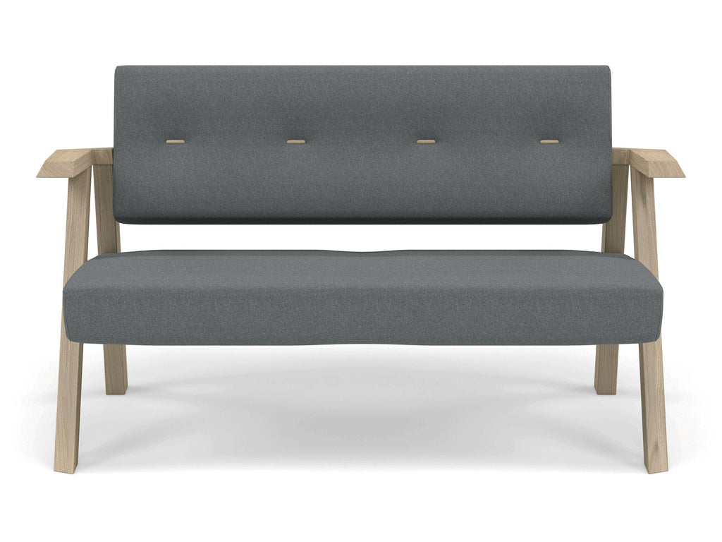 Classic Mid Century Design 2 Seater Sofa Armchair With Buttons In Sea