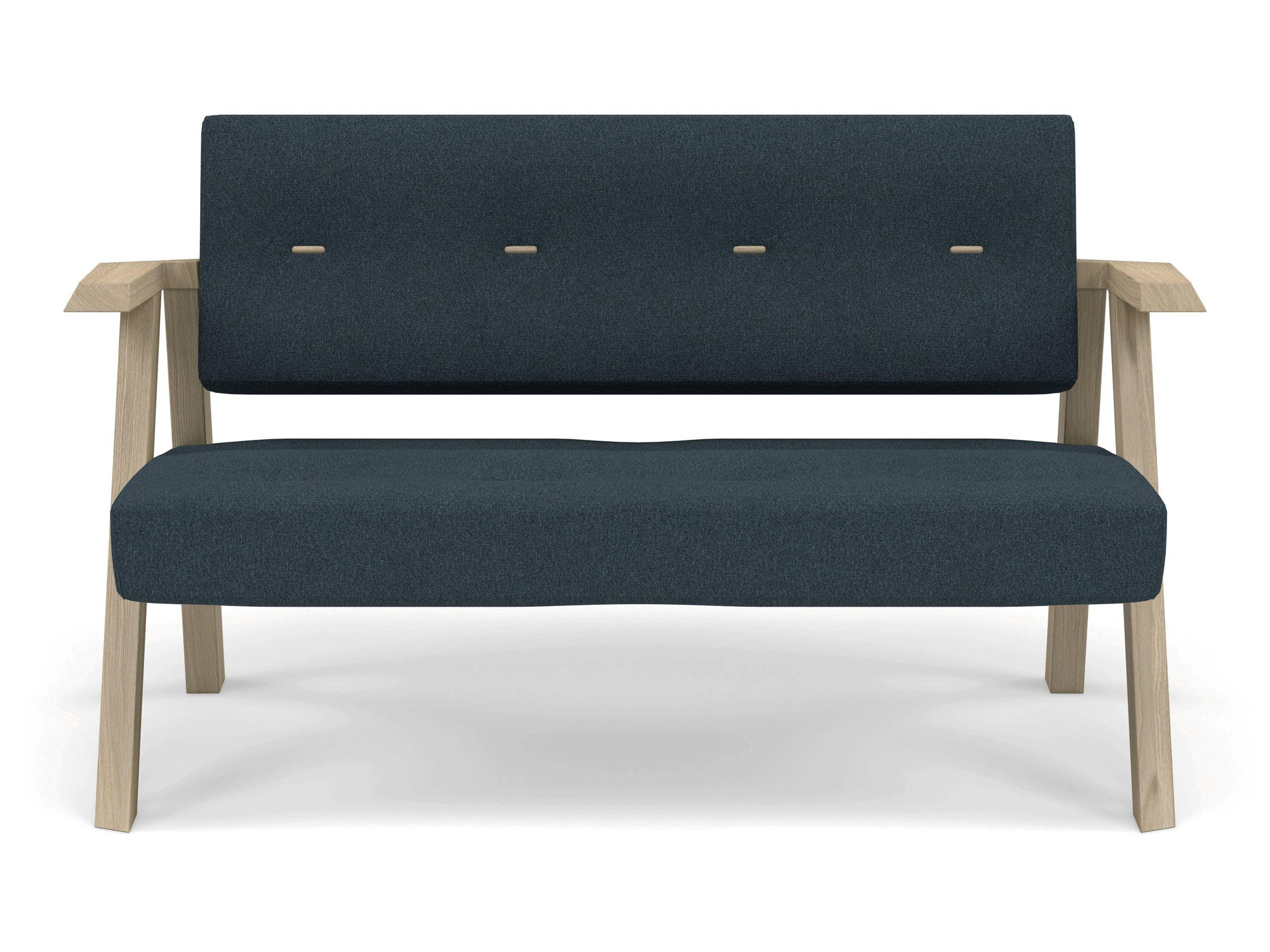 Classic Mid-century Design 2 Seater Sofa Armchair with Buttons in Denim Blue Fabric-Natural Oak-Distinct Designs (London) Ltd