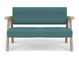 Classic Mid-century Design 2 Seater Sofa Armchair with Buttons in Teal Blue Fabric-Natural Oak-Distinct Designs (London) Ltd
