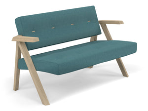 Classic Mid-century Design 2 Seater Sofa Armchair with Buttons in Teal Blue Fabric-Distinct Designs (London) Ltd