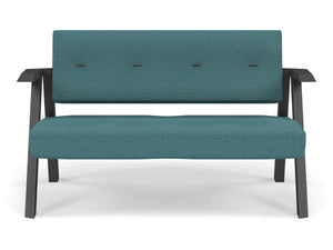 Classic Mid-century Design 2 Seater Sofa Armchair with Buttons in Teal Blue Fabric-Wenge Oak-Distinct Designs (London) Ltd