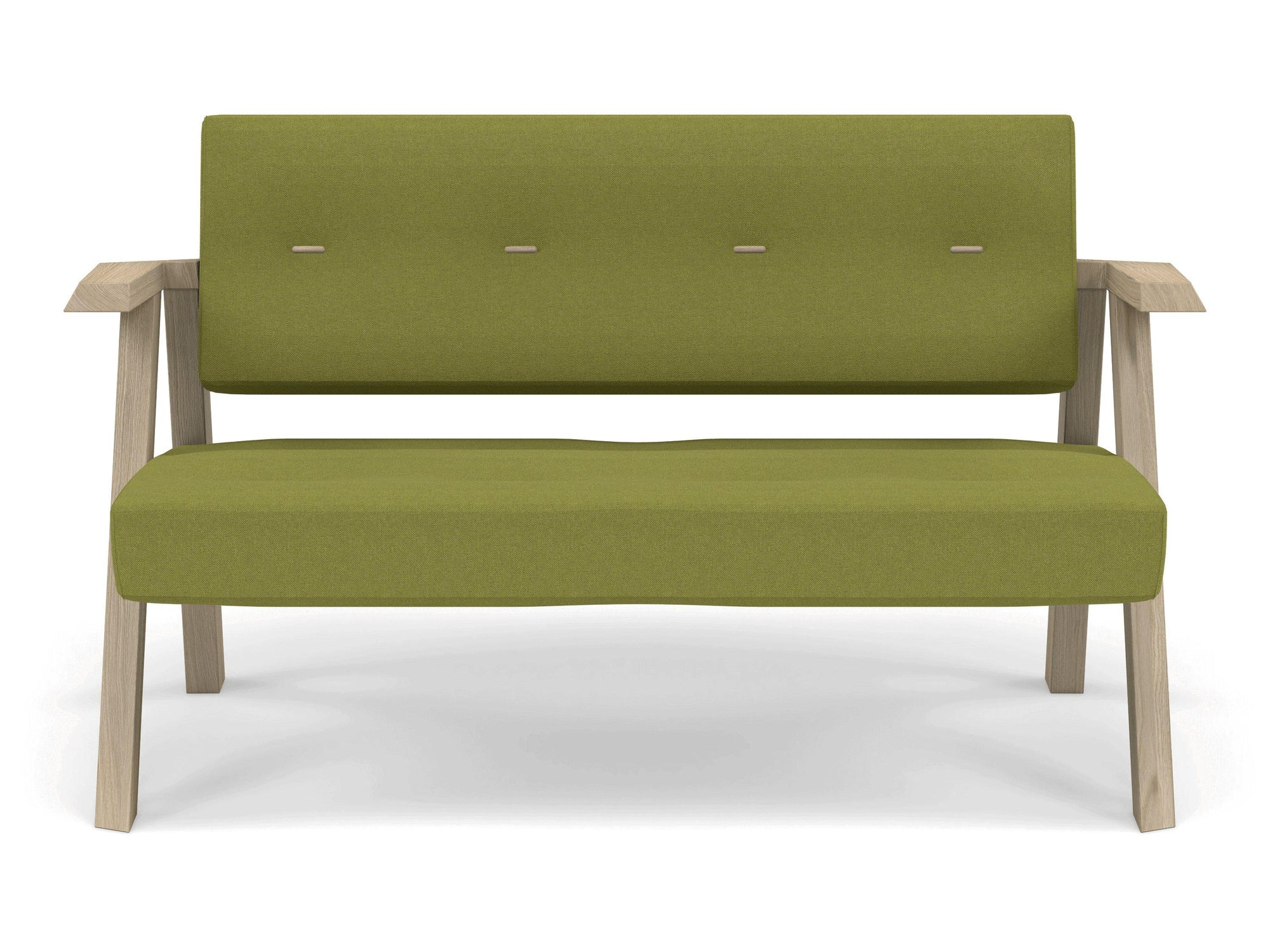 Classic Mid-century Design 2 Seater Sofa Armchair with Buttons in Lime Green Fabric-Natural Oak-Distinct Designs (London) Ltd