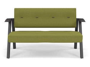 Classic Mid-century Design 2 Seater Sofa Armchair with Buttons in Lime Green Fabric-Wenge Oak-Distinct Designs (London) Ltd