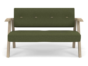 Classic Mid-century Design 2 Seater Sofa Armchair with Buttons in Seaweed Green Fabric-Natural Oak-Distinct Designs (London) Ltd