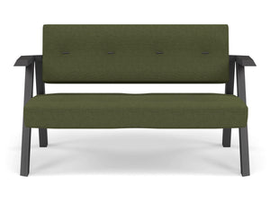 Classic Mid-century Design 2 Seater Sofa Armchair with Buttons in Seaweed Green Fabric-Wenge Oak-Distinct Designs (London) Ltd