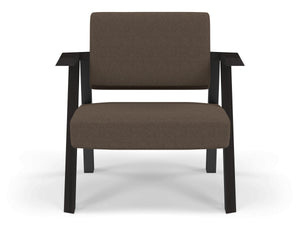 Classic Mid-century Design Armchair in Coffee Brown Fabric-Wenge Oak-Distinct Designs (London) Ltd
